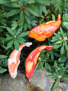 Set of 3 Warm colored koi  - Garden Art