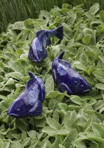 Set of 3 Medium Cobalt Ceramic Koi - 2nds- Free Shipping!!!
