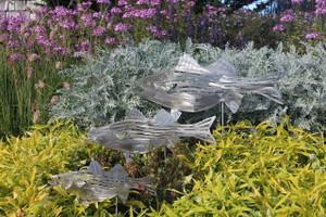 """Set of 30"""" - 23"""" -18""""  Stainless steel Bass  Garden Sculpture"""
