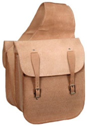 Roughout Leather Saddle Bag with Buckle Closure