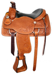 "16"" Basketweave Tooled Circle S Roping Saddle With Top Grain Smooth Leather Seat"