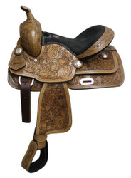"13"" Fully Tooled Double T Saddle With Suede Leather Seat"