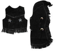 Kid's Size Suede Leather Chap And Vest Outfit With Fringe