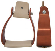 Showman Angled Off Set Copper Colored Aluminum Stirrups with Smooth Light Colored Leather Tread