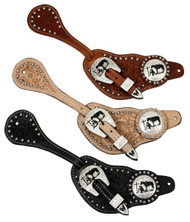 Showman™ Men's Size Floral Tooled Leather Silver Beaded Spur Straps with Silver Engraved Praying Cowboy Conchos