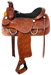 "16"" Double T Roper Style Saddle with Suede Leather Seat"