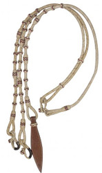 Showman ® Braided Natural Rawhide Romal Reins with Popper