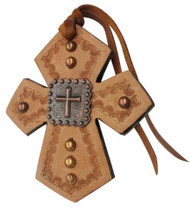 Showman ® Leather Tie On Cross with Raised Cross Concho