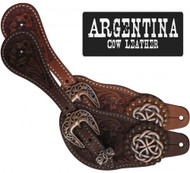 Showman® Ladies Size Argentina Cow Leather Celtic Knot Spur Straps