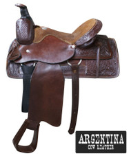 "16"" Buffalo Argentina Cow Leather Roper Style Saddle with Basketweave and Floral Tooling"