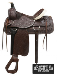 "16"" Buffalo Argentina Cow Leather Fully Tooled Roper Style Saddle"