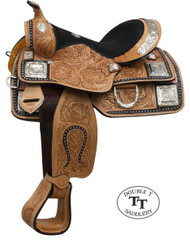 "13"" Double T Fully Tooled Youth / Pony Show Saddle with Silver"