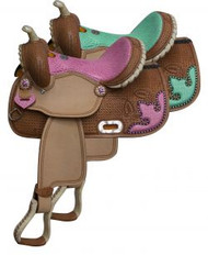 "13"" Double T Barrel style saddle with snake print seat and accents."