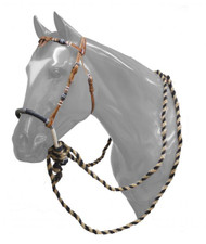 Showman ® leather futurity knot headstall with rawhide braided bosal and horse hair mecate reins.