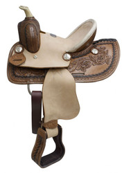 "10"" Double T Youth roper style saddle with hard seat."
