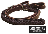 "Showman ® 7 ft Argentina cow leather contet reins. 1"" x 7ft."