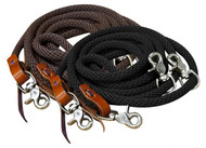 Showman ® 11 ft round braided nylon draw reins.
