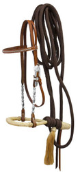 Showman ® Show bosal headstall with nylon mecate reins.