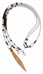 Showman ® Braided nylon romal reins with large leather popper end.