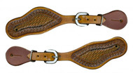"Showman ® Youth size basket weave tooled spur straps. Adjusts 7.5"" to 9"""