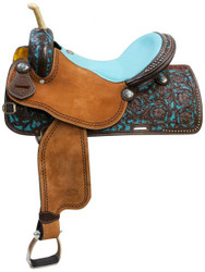 "14"",15"", 16"" Showman ® Argentina cow leather barrel saddle teal painted tooling."