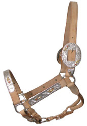 Showman Engraved Silver Show Halter with Pink Rhinestones