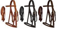 Cobb Size English headstall with raised browband and braided leather reins.