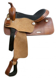"""16"""" Economy western saddle with rough out fenders and jockeys."""