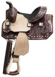 """8"""" Double T   pony saddle with floral tooled leather and cyrstal rhinesotne conchos"""