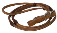 Showman ® 8ft Argentina cow leather reins with burgundy braided rawhide accents.