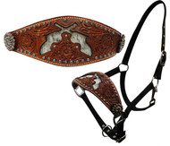 Showman ® nylon bronc halter with cut out hair on cowhide dueling guns.