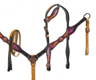 Showman ® One ear pink buck stitch headstall and breast collar set.