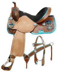 "14"", 15"", 16"" Double T  barrel style saddle set with metallic teal painted cross."