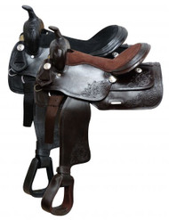 "16"" Double T Economy Style Saddle with suede leather seat."