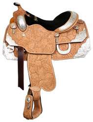 "16"", 17"" Showman™ Floral Tooled Silver Show Saddle"
