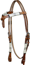 Showman™ Double Stitched Leather Futurity Knot Headstall With Rawhide Braiding