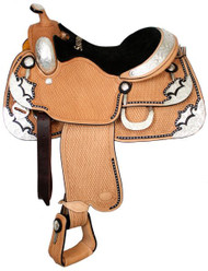 "16"" Showman™ Basketweave Tooled Show Saddle with Black Inlay and Matching Headstall and Reins"