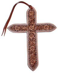 Large Floral Tooled Leather Tie on Cross with Silver Beads