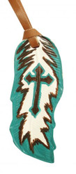 """5""""  Teal and brown hand painted painted leather tie on feather with painted cross. 5"""" x 2""""."""