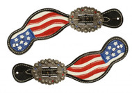 Showman ® Hand painted American flag spur straps.