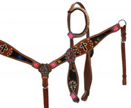 Showman ® Metallic splash headstall and breast collar set with painted cross accents.