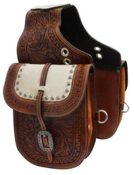 Showman ® Tooled leather saddle bag with hair-on cowhide overlay.