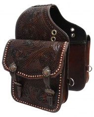 Showman ® Tooled dark oil leather saddle bag with engraved antique bronze conchos and buckles.