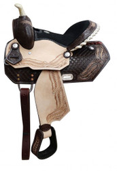 "13"" Youth barrel saddle with tooled feather design."