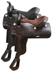 "16"" Economy western saddle with floral tooling."