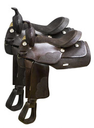 "16"" Economy western saddle with basket weave tooling."