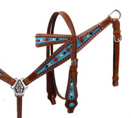Showman ® Headstall and breast collar set with beaded inlays.