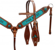 "Showman ® "" Turn N Burn"" headstall and breast collar set."