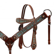 Showman ® Teal and brown Navajo print headstall and breast collar set.