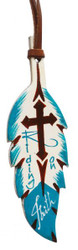 "7""  Teal and brown hand painted painted leather tie on feather. 5"" x 2""."